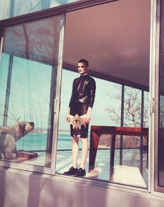 Guinevere van Seenus for Bergdorf Goodman magazine - Givenchy leather sweatshirt