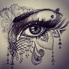 It's that time of the week. eye ballpointpen drawing with some zentangle doodle things