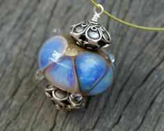 Lampwork Pendant Necklace with Sterling Silver Accents by JetBeads