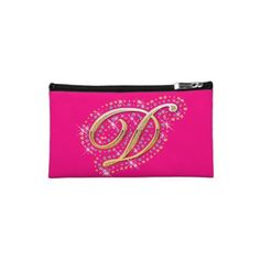 Keep your lipstick & eyeliner safe with a new Pink cosmetic bags from Zazzle. Unrivaled designs transform these makeup bags. Cosmetic & Toiletry Bags, Eyeliner, Initials, Diamonds, Lipstick, Cosmetics, Makeup, Pink, Gold