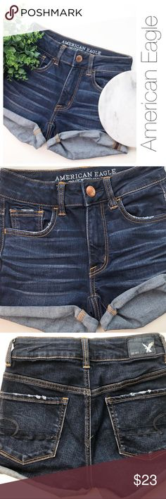 """American Eagle Super Stretch High Rise Shorts  These adorable High Rise American Eagle Shorts Are super cute and trendy for spring and summer. Look great on any body.  Rise: 9"""" Side to side across the back: 12"""" Inseam (when rolled up): 2"""" Has cute pockets. Summer Ready!!  American Eagle Outfitters Shorts Jean Shorts"""