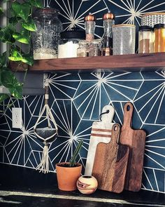 Inspiration Gallery Our inspiration gallery is here to help you envision products in application. Hexagon Tile Backsplash, Mosaic Tile Art, Hexagon Tiles, Kitchen Tiles, Wall Tiles, Kitchen Layout, Kitchen Design, Home Theater Surround Sound, Cement Crafts
