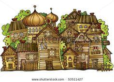 cartoon vector Russian old wooden village - stock vector