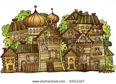 cartoon vector Russian old wooden village - stock vector