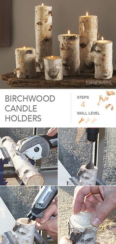 Create these unique birch wood candle holders for your home or for a friend in only 4 easy steps. #Candleholders