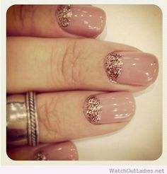 Wonderful nude nails with glitter