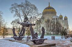 The Naval cathedral of Saint Nicholas in Kronstadt. Orthodox Christianity, Saint Nicholas, Timeline Photos, Barcelona Cathedral, Taj Mahal, Temple, Russia, Restoration, Saints