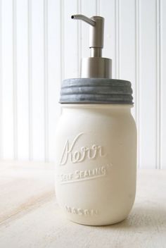 Love these mason jar soap dispensers.