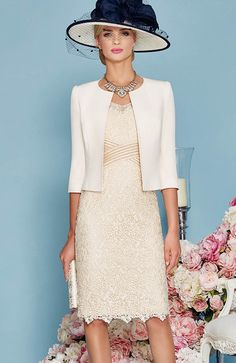 Veni Infantino 991129 occasion wear - Colour Rose - Price A lace slim fit dress with ¾ length sleeves a detailed waistband and matching jacket. Wedding Outfits For Groom, Mother Of Bride Outfits, Mother Of Groom Dresses, Mothers Dresses, Wedding Hats, Mother Of The Bride, Mother Mother, Wedding Dresses, Elegant Outfit
