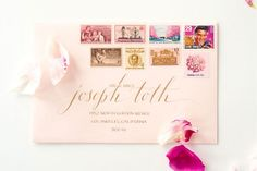 How To Mix Vintage Postage Underwood Letterpress Anne Robin Calligraphy Pink and Beige Stationery Inspiration: Mixing Vintage Postage