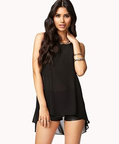 Absolutely love the black lace detail on the back - Lace Back High-Low Top F21