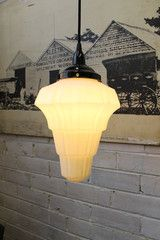 Another Schoolhouse Ceiling Pendant Light just full of art deco charm and classic flair. Industrial Pendant Lights, Pendant Lighting, House Lighting, Ceiling Pendant, Ceiling Lights, Ceiling Rose, Glass Shades, Bulb, Vintage