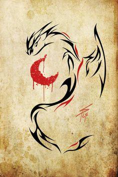 -blood red moon tribal dragon- by slawomiro on DeviantArt