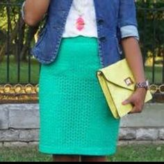 Green Eyelet Pencil skirt My fave but too tight on me now. Eyelet, 22.5inches long. Great pop color!! LOFT Skirts Pencil