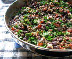 Bean, lentil & kale bake