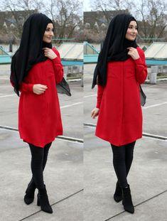 Hijab Outfit, Hijabs, Casual Frocks, Hijab Stile, Hijab Collection, Casual Formal Dresses, Muslim Women Fashion, Hijab Fashionista, Red Tunic
