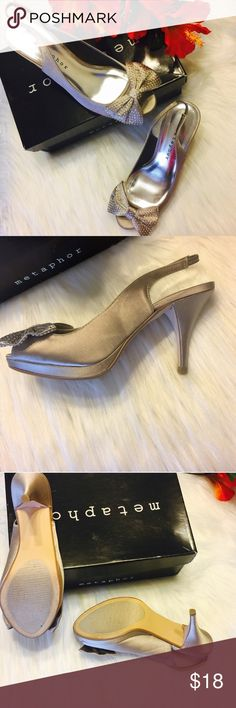 """🌻SALE🌻 Metaphor KEIRA Peep Toe Sling Back Heels Metaphor Womens Dress Shoe KEIRA Peep Toe Sling Back Heels. Man Made Satin Upper, Sling Back, Silver Platform, Taupe In Color, Ornamental Bow With Rhinestones, 3 1/2"""" Heel. Only Worn Once And Kept In Included Box. Excellent Condition Like New!!! Size 5 1/2 Metaphor Shoes Heels"""