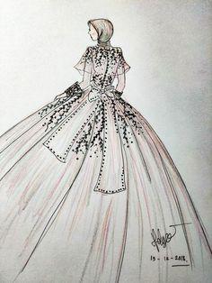 Hijab gown design. #fashion #sketching #sketch #design Dress Design Sketches, Fashion Design Sketches, Sketch Design, Design Design, Muslim Wedding Dresses, Muslim Dress, Gown Drawing, Hijab Gown, Dress Illustration