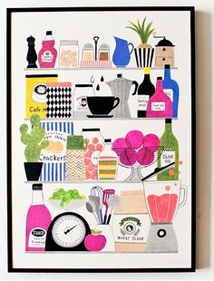 Grocery shelves illustration. http://obus.com.au/