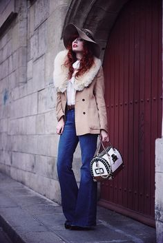 Pants : Marrakesh by MIH Jeans. Shoes : Alaïa Jacket : Zara and vintage fur Shirt : Vintage Hat : American Apparel with Tand3m headband Bag : Candy bag Rock Star by Furla. (Vous pouvez le gagner avec Ykone, lors d'un cocktail au galeries Lafayette le 20 avril, où je serais bien sûr présente, plus d'infos ici ! ).