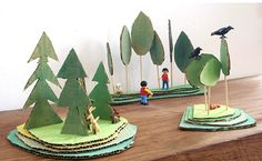 bosque wood wald cardboard karton carton kids craft manualidad basteln kinder ninos miniatura mini playmobil