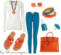"""turquoise & orange"" by lilmissmegan on Polyvore"