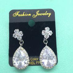 b58c9f65b Bridal Teardrop Flower Cubic Zirconia Teardrop Dangle Stud Wedding Earrings  #Unbranded #DropDangle