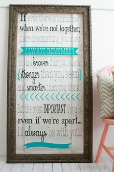 Vinyl Framed Art, cute Winnie the Pooh quote! Read how to make your own @Lolly Jane {lollyjane.com}