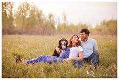 field maternity photos with dog