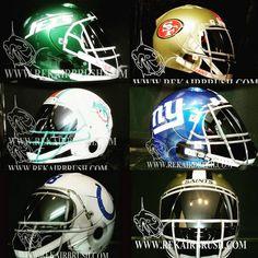NFL Themed Motorcycle Helmets by REK airbrush