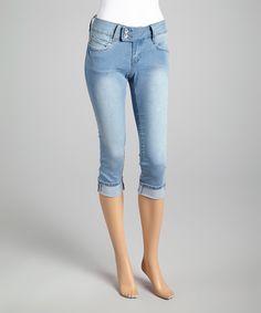 Love this YMI Light Blue Denim Long Capri Jeans by YMI on #zulily! #zulilyfinds