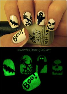 Kelsie's Nail Files: China Glaze Ghoulish Glow-in-the-dark polish :) #halloween #nailart