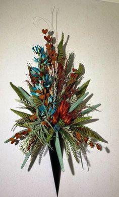 Excited to share this item from my shop: Wall Sconce Floral Arrangement, Rustic and Teal, Silk Floral Arrangement, Gerbera Wedding, Flower Bouquet Wedding, Bridal Bouquets, Faux Flowers, Silk Flowers, Small Centerpieces, Wedding Centerpieces, Tuscany Decor, Faux Flower Arrangements
