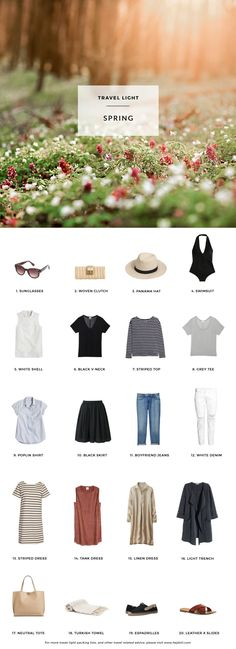 1. J.Crew Factory Sunglasses / 2. J.Crew Factory Rattan Clutch / 3. Panama Hat / 4. American Apparel Swimsuit / 5. Perforated Shell / 6. Cuyana Black V-Neck / 7. H&M Conscious Striped Top / 8. Cuyana Grey Tee / 9. J.Crew Poplin Shirt / 10. Uniqlo Cotton Skirt / 11. Uniqlo Slim Boyfriend Jeans / 12. H&M Conscious White Denim / 13. J.Crew Striped Dress / 14. H&M Conscious Tank Dress / 15. Uniqlo Linen Dress / 16. H&M Conscious Light Trench / 17. Street Level Reversible Tote (Huge personal…