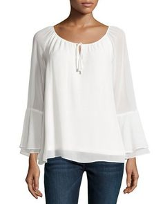 Marled by Reunited Clothing Tie-Front Bell-Sleeve Blouse, White New offer @@@ Price :$68 Price Sale $49