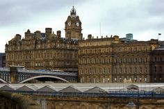 Downtown central Edinburgh, Scotland overlooking Waverley Station.