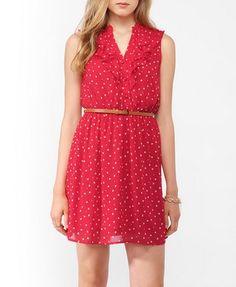 Ruffled Ditsy Heart Dress w/ Belt   FOREVER21 - 2000044052