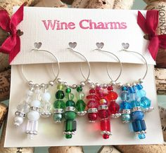 Holiday Wine Charm Set of 4 Red Green Blue & by LasmasCreations Wine Favors, Housewarming Gift Baskets, Wine Glass Markers, Wine Decor, Christmas Stocking Stuffers, Wine Glass Charms, Wine Parties, Bar Accessories, Wine Gifts