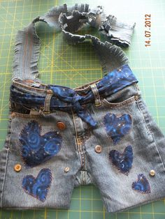 Upcylced Jean Purse or Messenger Bag by Wildkatzart on Etsy, $15.00