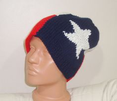 Texas Flag Beanie Hat Adult Large Red Blue White by earflaphats, $39.99