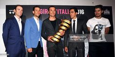Alejandro Valverde, Vincenzo Nibali, Ivan Basso, Alberto Contador and Peter Sagan pose with the trophy for the winner of the Tour of Italy, during the presentation of the Giro D'Italia 2016 on October 5, 2015 in Milan, Italy. #giro #rm_112