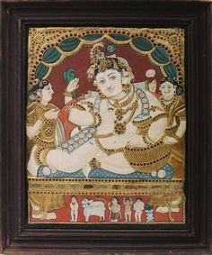 The quintessential Tanjore Painting... Butter Krishna