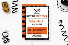 Glam Baseball Bachelorette Party Invitation   Rich Design Co