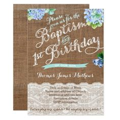 1st birthday and christeningbaptism invitation sample baptism boy baptism and 1st birthday blue floral invites stopboris