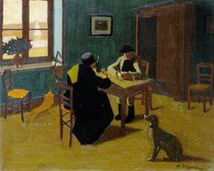 Les deux vieux a table by Marius Borgeaud, 1920
