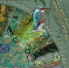 I ❤ crazy quilting, beading & embroidery . . . Just beautiful. Kingfisher and BAS seams In this block I used CQI BAS stitches and some monthly challenges - as the Kingfisher. By peltolaritva