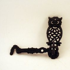 Vintage Black Metal Owl Plant Holder by ChompMonster on Etsy, $7.00