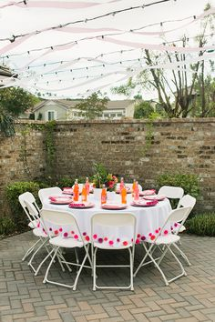 Pink Pom Pom table cloth | Flowery Birthday Party | Grey Likes BabyGrey Likes Baby