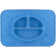 Nuby Large Silicone Sectioned Feeding Mat, Blue