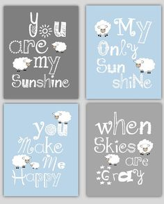 Kids Art You are my Sunshine with Lamb set of by LittlePergola, $55.00